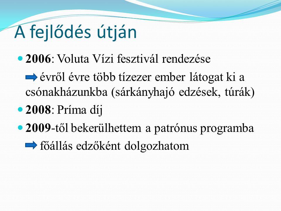 A fejlődés útján 2006: Voluta Vízi fesztivál rendezése -> évről évre több tízezer ember látogat ki a csónakházunkba (sárkányhajó edzések, túrák) 2008: Príma díj 2009-től bekerülhettem a patrónus programba -> főállás edzőként dolgozhatom