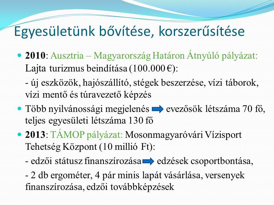Egyesületünk bővítése, korszerűsítése 2010: Ausztria – Magyarország Határon Átnyúló pályázat: Lajta turizmus beindítása (100.000 €): - új eszközök, ha