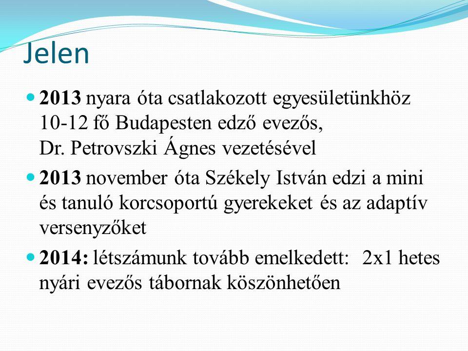 Jelen 2013 nyara óta csatlakozott egyesületünkhöz 10-12 fő Budapesten edző evezős, Dr. Petrovszki Ágnes vezetésével 2013 november óta Székely István e