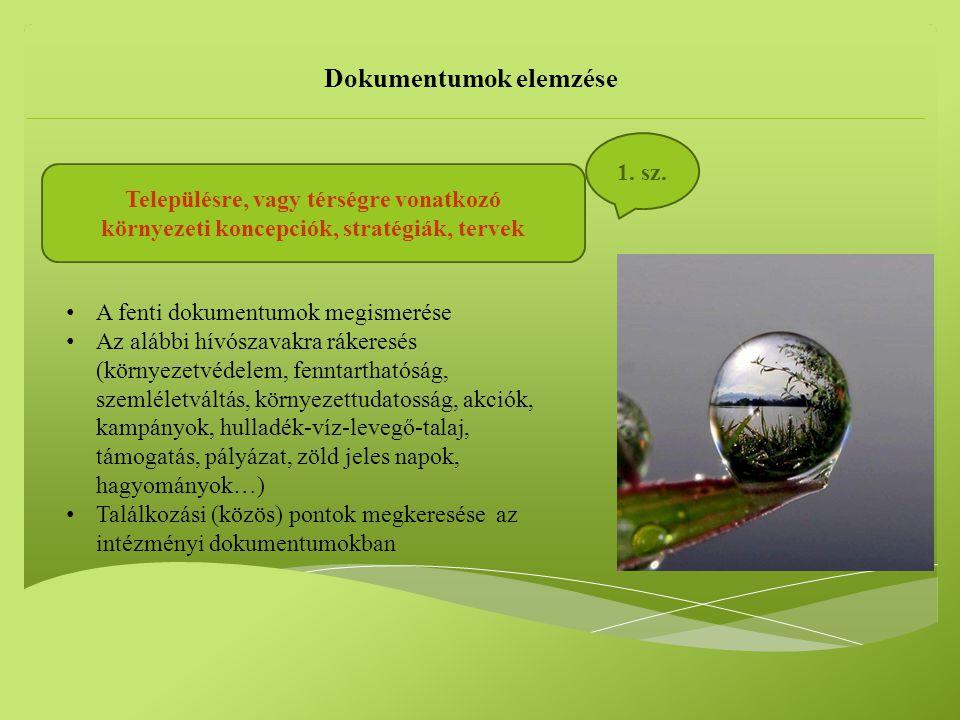 Településre, vagy térségre vonatkozó környezeti koncepciók, stratégiák, tervek Dokumentumok elemzése 1.