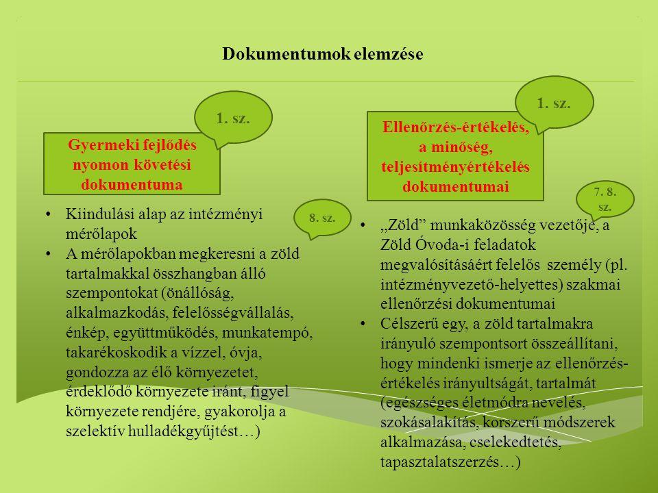 Dokumentumok elemzése Gyermeki fejlődés nyomon követési dokumentuma 1.