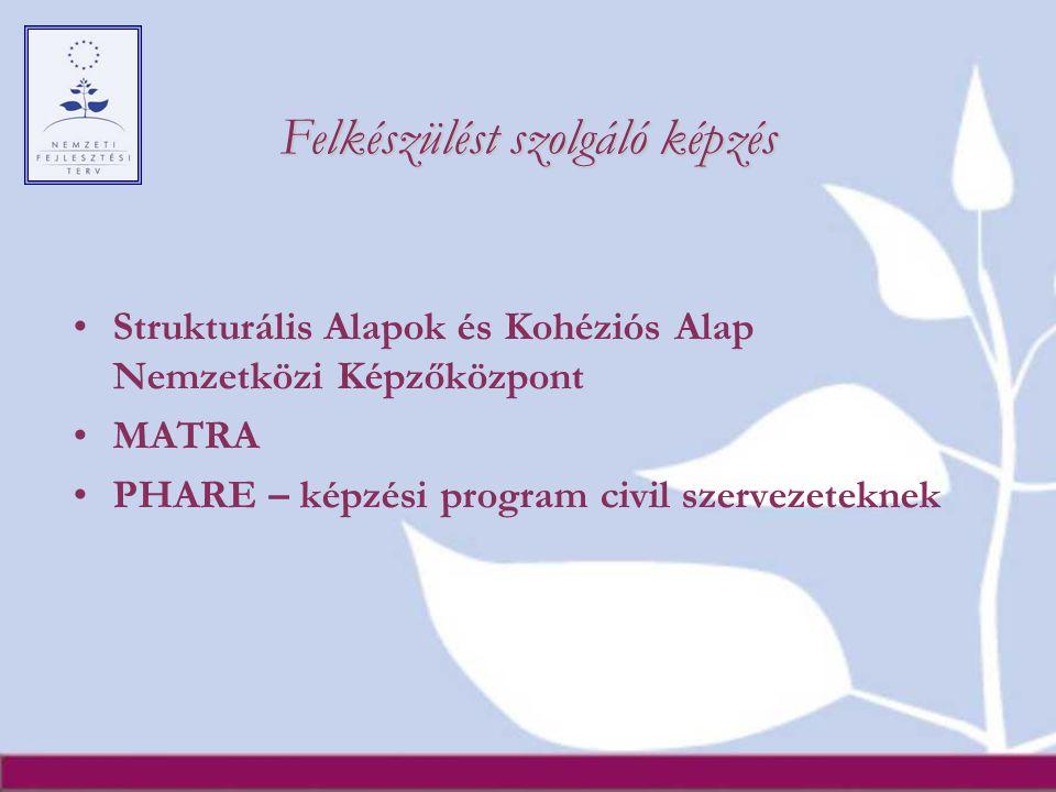 Felkészülést szolgáló képzés Strukturális Alapok és Kohéziós Alap Nemzetközi Képzőközpont MATRA PHARE – képzési program civil szervezeteknek