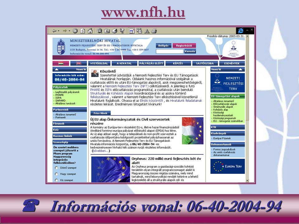 www.nfh.hu Információs vonal: 06-40-2004-94