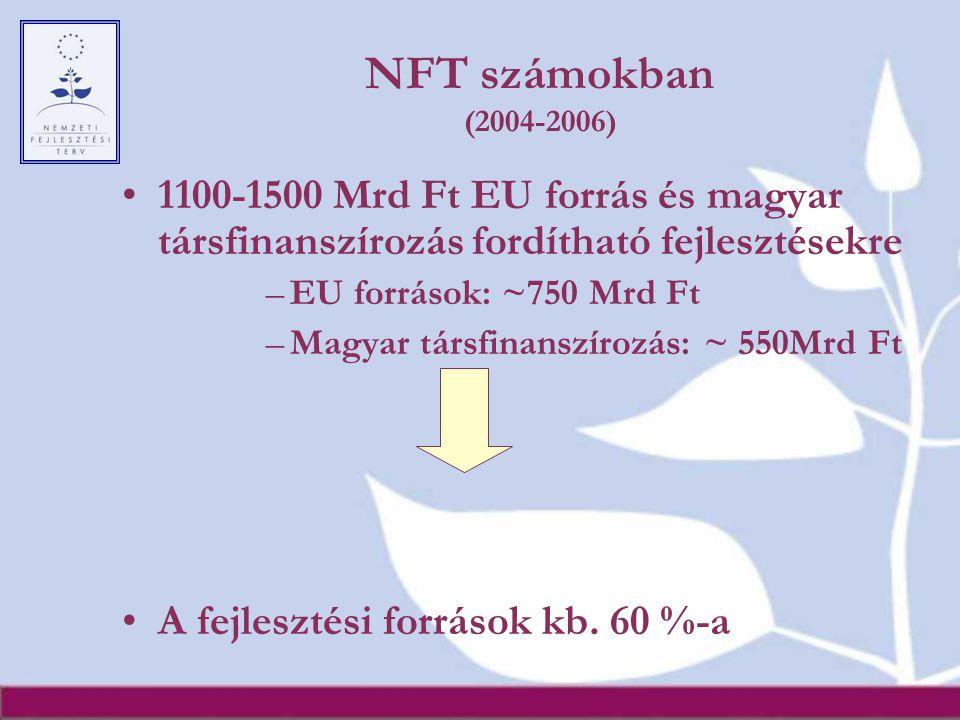 NFT számokban (2004-2006) 1100-1500 Mrd Ft EU forrás és magyar társfinanszírozás fordítható fejlesztésekre –EU források: ~750 Mrd Ft –Magyar társfinan