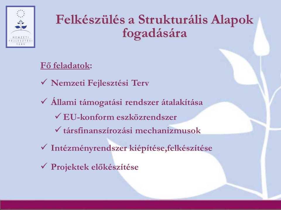Felkészülés a Strukturális Alapok fogadására Fő feladatok: Nemzeti Fejlesztési Terv Állami támogatási rendszer átalakítása EU-konform eszközrendszer t