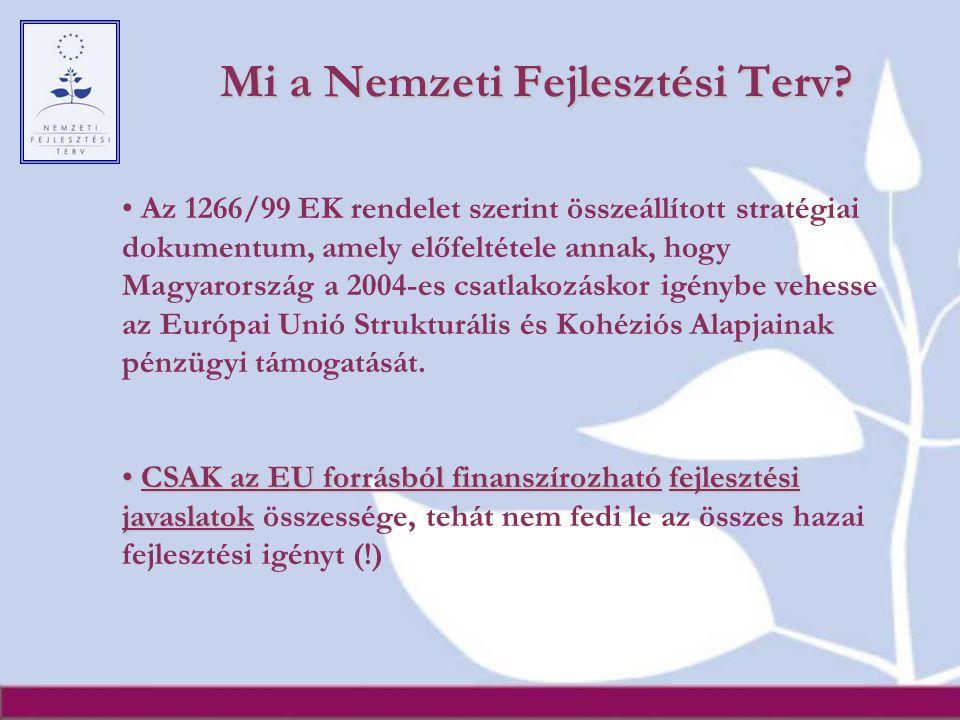 Mi a Nemzeti Fejlesztési Terv? Az 1266/99 EK rendelet szerint összeállított stratégiai dokumentum, amely előfeltétele annak, hogy Magyarország a 2004-