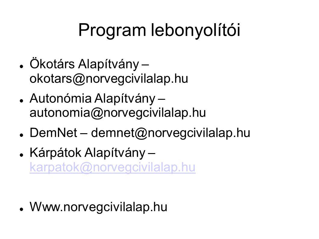 Program lebonyolítói Ökotárs Alapítvány – okotars@norvegcivilalap.hu Autonómia Alapítvány – autonomia@norvegcivilalap.hu DemNet – demnet@norvegcivilalap.hu Kárpátok Alapítvány – karpatok@norvegcivilalap.hu karpatok@norvegcivilalap.hu Www.norvegcivilalap.hu