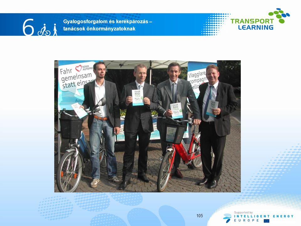 Gyalogosforgalom és kerékpározás – tanácsok önkormányzatoknak 105