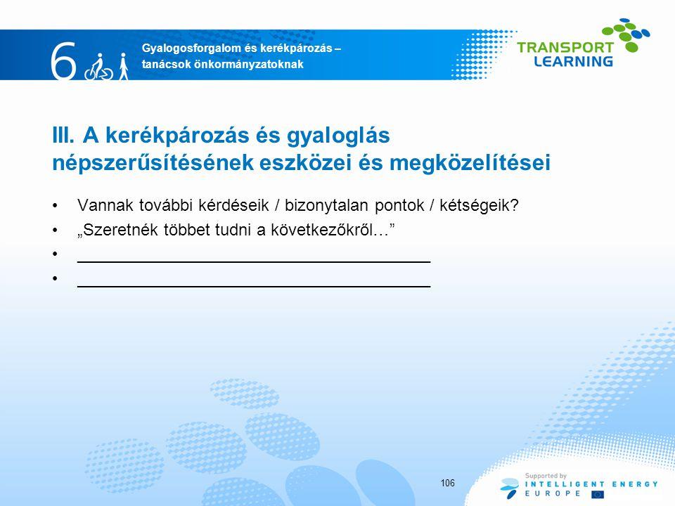 Gyalogosforgalom és kerékpározás – tanácsok önkormányzatoknak III.
