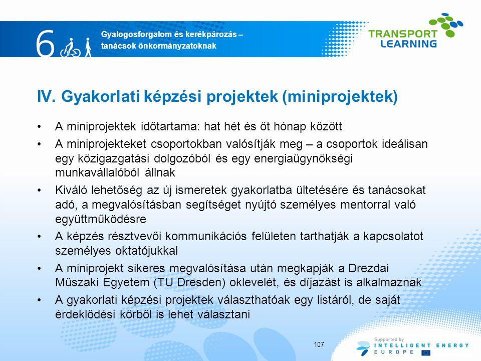 Gyalogosforgalom és kerékpározás – tanácsok önkormányzatoknak IV. Gyakorlati képzési projektek (miniprojektek) A miniprojektek időtartama: hat hét és