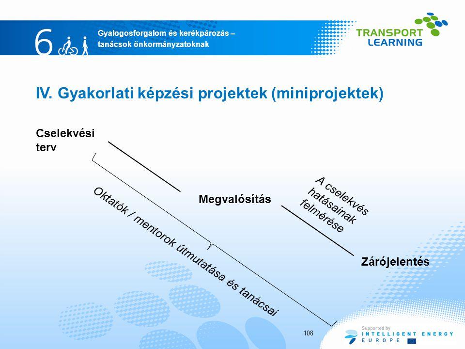 Gyalogosforgalom és kerékpározás – tanácsok önkormányzatoknak Cselekvési terv 108 IV. Gyakorlati képzési projektek (miniprojektek) Zárójelentés Megval