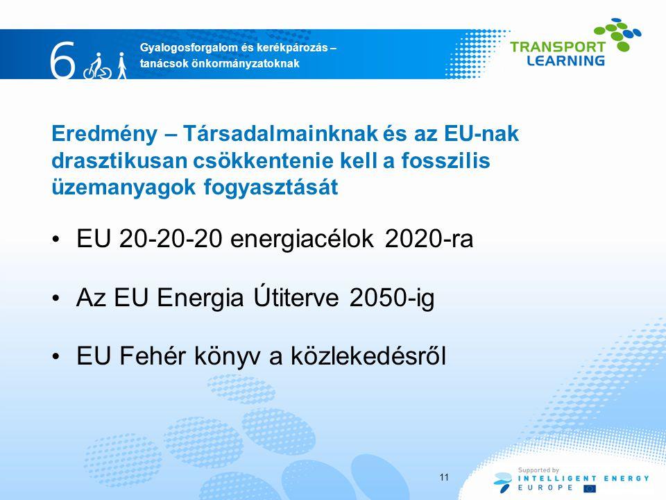 Gyalogosforgalom és kerékpározás – tanácsok önkormányzatoknak 11 EU 20-20-20 energiacélok 2020-ra Az EU Energia Útiterve 2050-ig EU Fehér könyv a közlekedésről Eredmény – Társadalmainknak és az EU-nak drasztikusan csökkentenie kell a fosszilis üzemanyagok fogyasztását