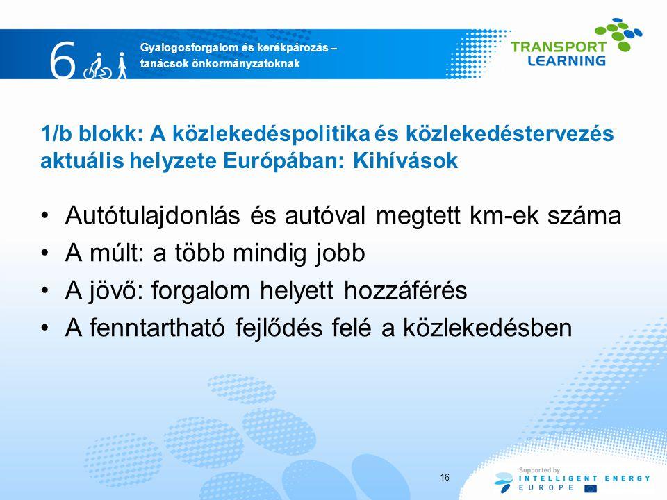 Gyalogosforgalom és kerékpározás – tanácsok önkormányzatoknak 16 1/b blokk: A közlekedéspolitika és közlekedéstervezés aktuális helyzete Európában: Ki