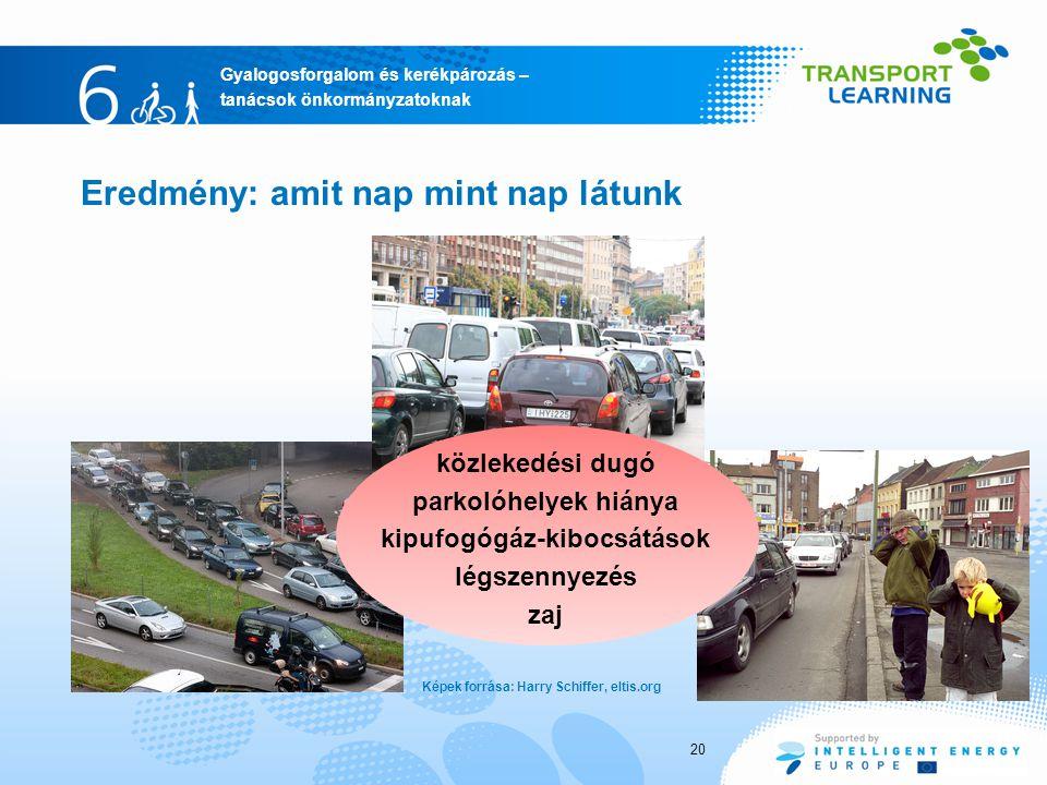 Gyalogosforgalom és kerékpározás – tanácsok önkormányzatoknak 20 Eredmény: amit nap mint nap látunk Képek forrása: Harry Schiffer, eltis.org közlekedési dugó parkolóhelyek hiánya kipufogógáz-kibocsátások légszennyezés zaj