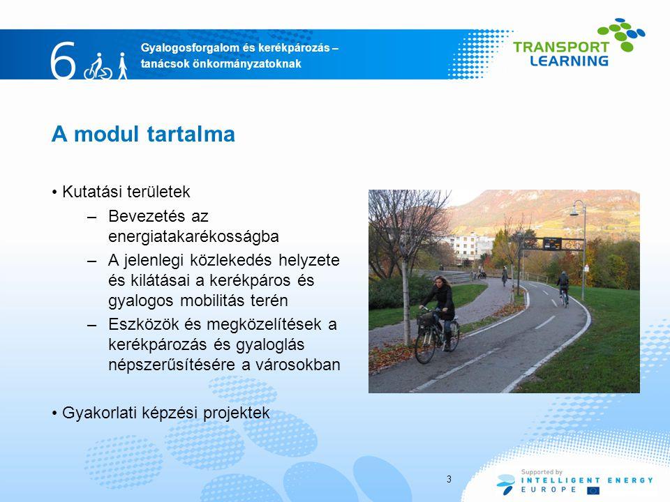 Gyalogosforgalom és kerékpározás – tanácsok önkormányzatoknak 3 A modul tartalma Kutatási területek –Bevezetés az energiatakarékosságba –A jelenlegi közlekedés helyzete és kilátásai a kerékpáros és gyalogos mobilitás terén –Eszközök és megközelítések a kerékpározás és gyaloglás népszerűsítésére a városokban Gyakorlati képzési projektek