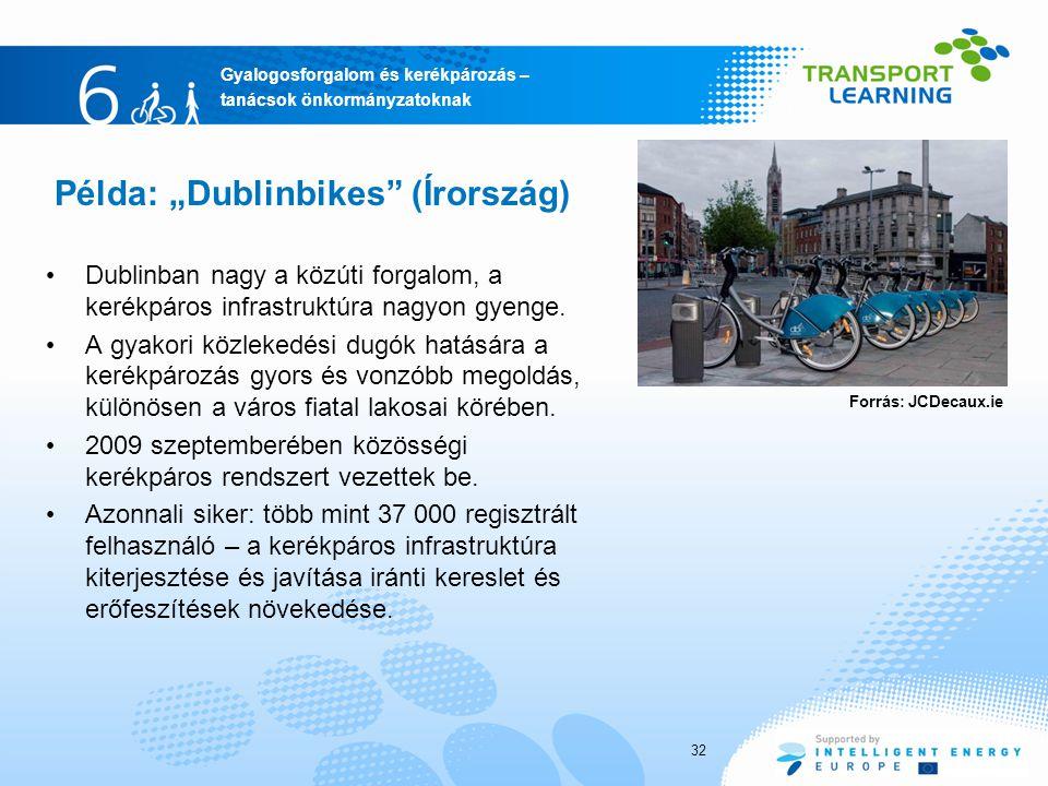 """Gyalogosforgalom és kerékpározás – tanácsok önkormányzatoknak Példa: """"Dublinbikes (Írország) Dublinban nagy a közúti forgalom, a kerékpáros infrastruktúra nagyon gyenge."""