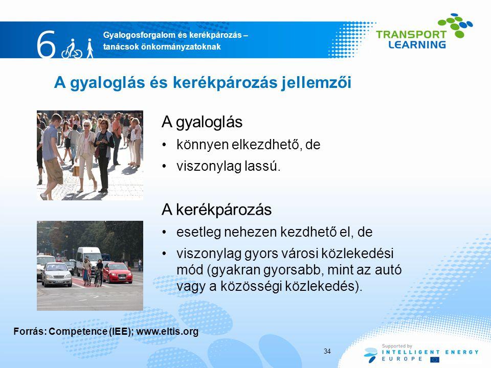 Gyalogosforgalom és kerékpározás – tanácsok önkormányzatoknak A gyaloglás és kerékpározás jellemzői A gyaloglás könnyen elkezdhető, de viszonylag lass
