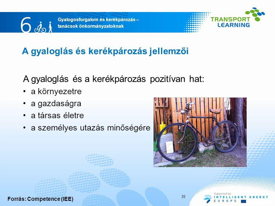 Gyalogosforgalom és kerékpározás – tanácsok önkormányzatoknak A gyaloglás és kerékpározás jellemzői A gyaloglás és a kerékpározás pozitívan hat: a környezetre a gazdaságra a társas életre a személyes utazás minőségére Forrás: Competence (IEE) 35