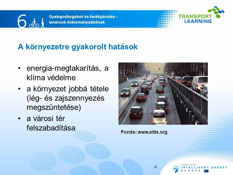 Gyalogosforgalom és kerékpározás – tanácsok önkormányzatoknak A környezetre gyakorolt hatások energia-megtakarítás, a klíma védelme a környezet jobbá tétele (lég- és zajszennyezés megszüntetése) a városi tér felszabadítása 36 Forrás: www.eltis.org