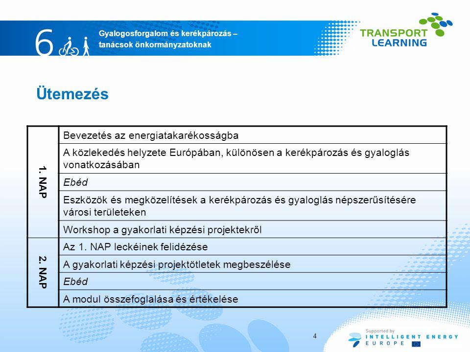Gyalogosforgalom és kerékpározás – tanácsok önkormányzatoknak Ütemezés 4 1. NAP Bevezetés az energiatakarékosságba A közlekedés helyzete Európában, kü