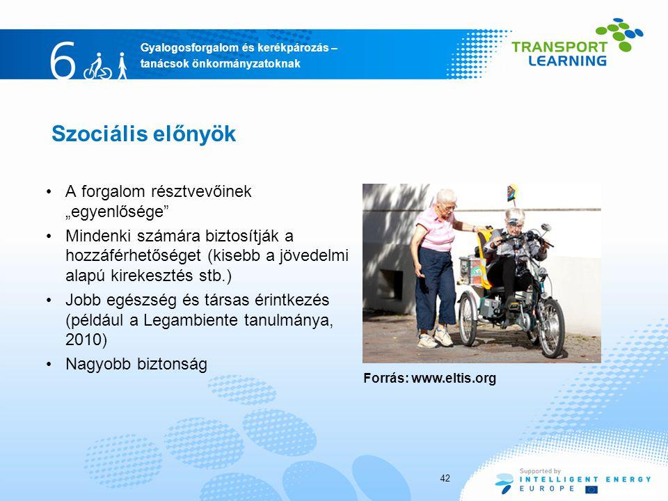 """Gyalogosforgalom és kerékpározás – tanácsok önkormányzatoknak Szociális előnyök A forgalom résztvevőinek """"egyenlősége Mindenki számára biztosítják a hozzáférhetőséget (kisebb a jövedelmi alapú kirekesztés stb.) Jobb egészség és társas érintkezés (például a Legambiente tanulmánya, 2010) Nagyobb biztonság 42 Forrás: www.eltis.org"""