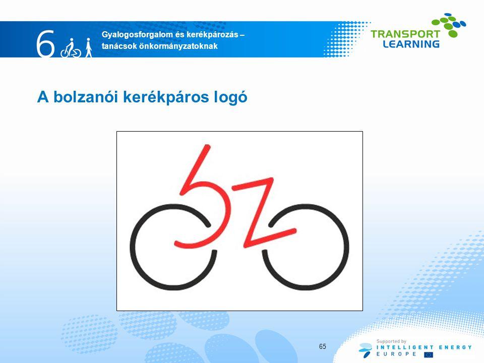 Gyalogosforgalom és kerékpározás – tanácsok önkormányzatoknak A bolzanói kerékpáros logó 65