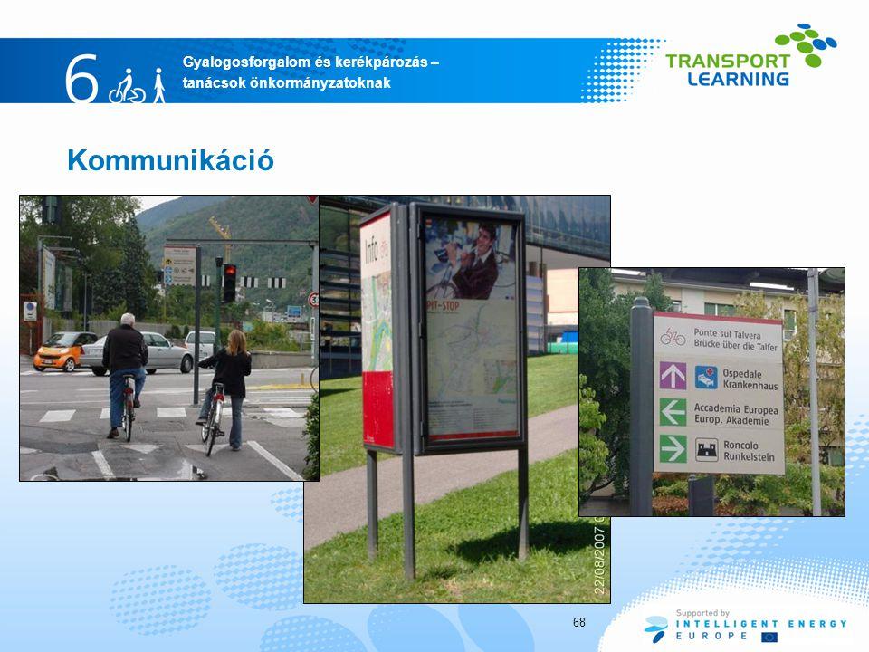 Gyalogosforgalom és kerékpározás – tanácsok önkormányzatoknak Kommunikáció 68