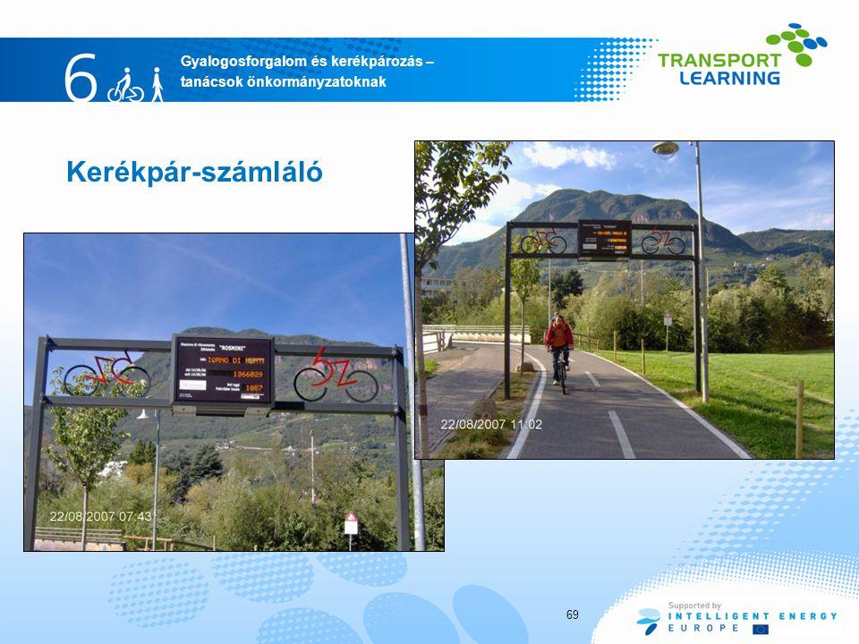 Gyalogosforgalom és kerékpározás – tanácsok önkormányzatoknak Kerékpár-számláló 69
