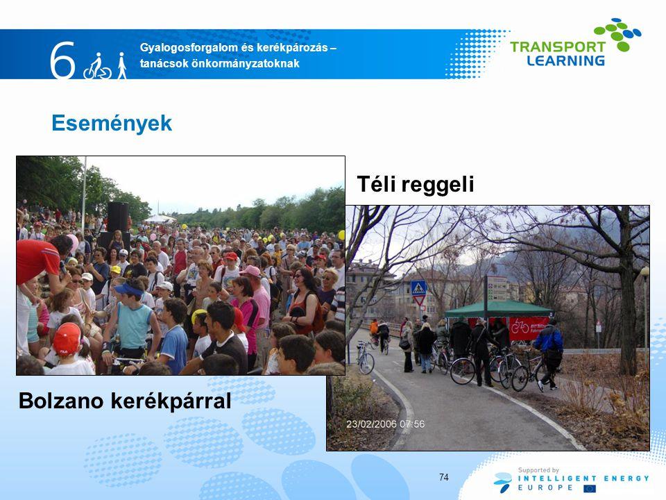 Gyalogosforgalom és kerékpározás – tanácsok önkormányzatoknak Események Téli reggeli Bolzano kerékpárral 74