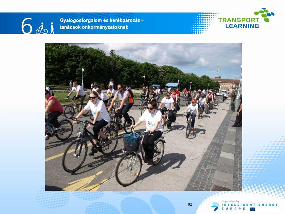 Gyalogosforgalom és kerékpározás – tanácsok önkormányzatoknak 82