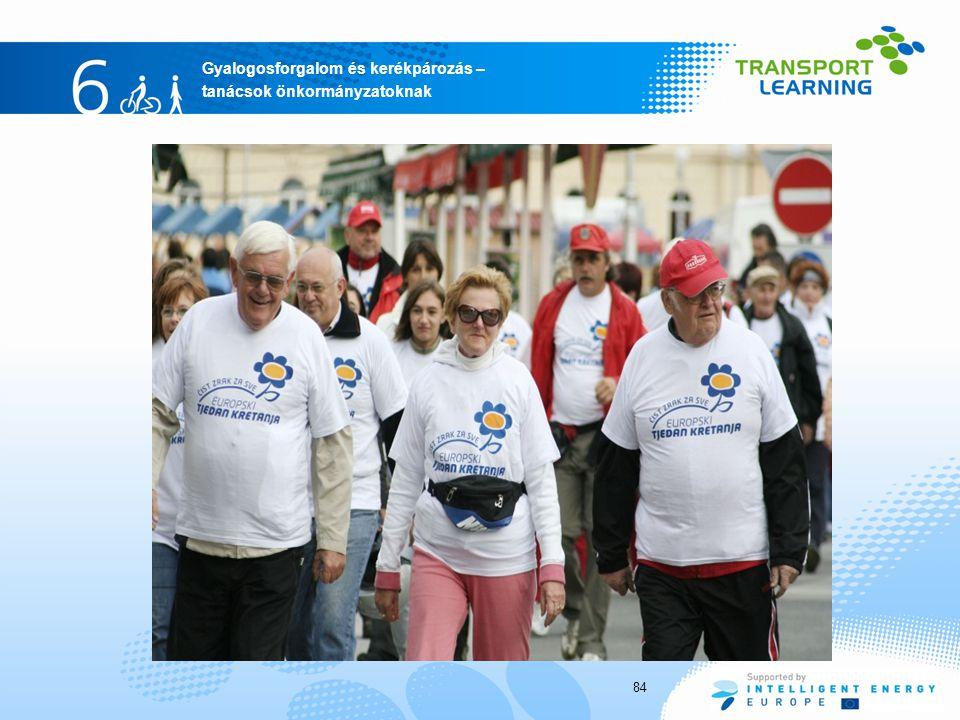 Gyalogosforgalom és kerékpározás – tanácsok önkormányzatoknak 84