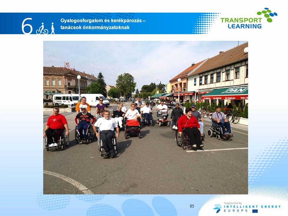 Gyalogosforgalom és kerékpározás – tanácsok önkormányzatoknak 85
