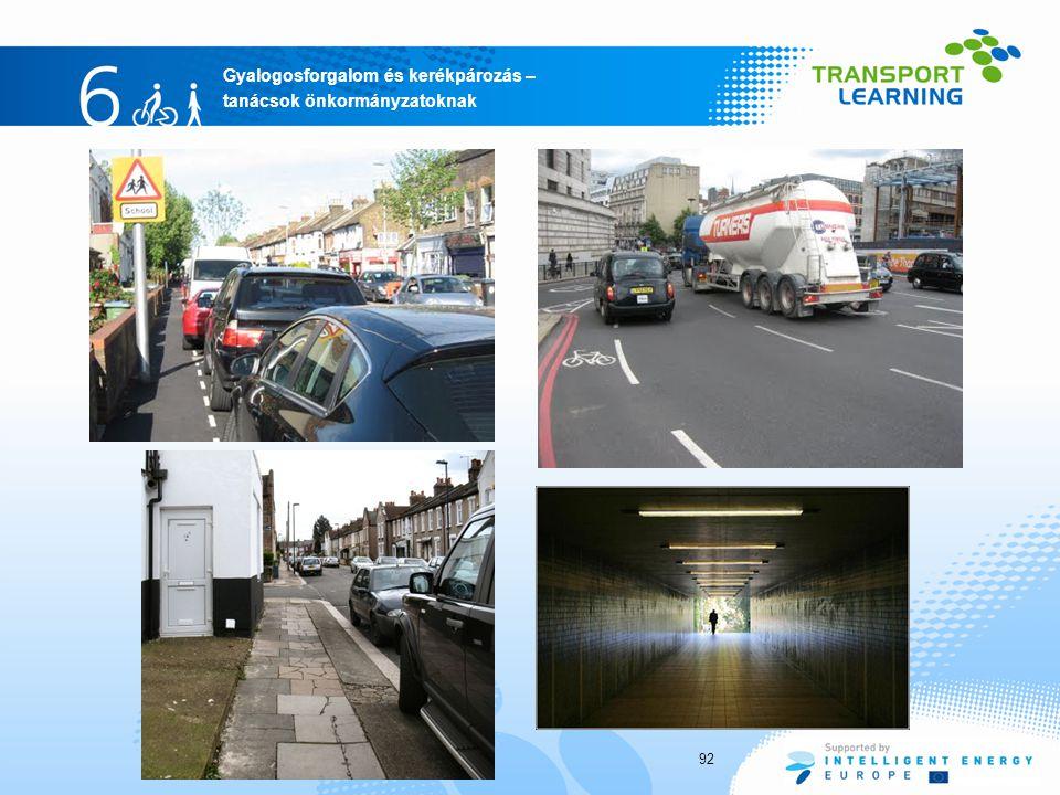 Gyalogosforgalom és kerékpározás – tanácsok önkormányzatoknak 92