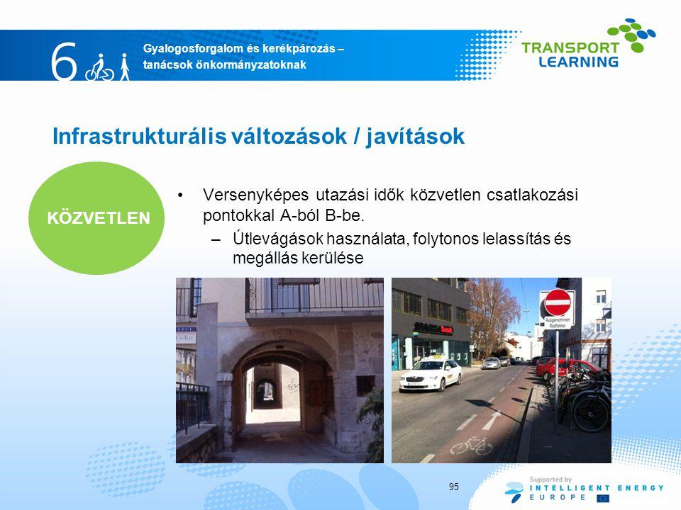 Gyalogosforgalom és kerékpározás – tanácsok önkormányzatoknak Infrastrukturális változások / javítások 95 Versenyképes utazási idők közvetlen csatlakozási pontokkal A-ból B-be.