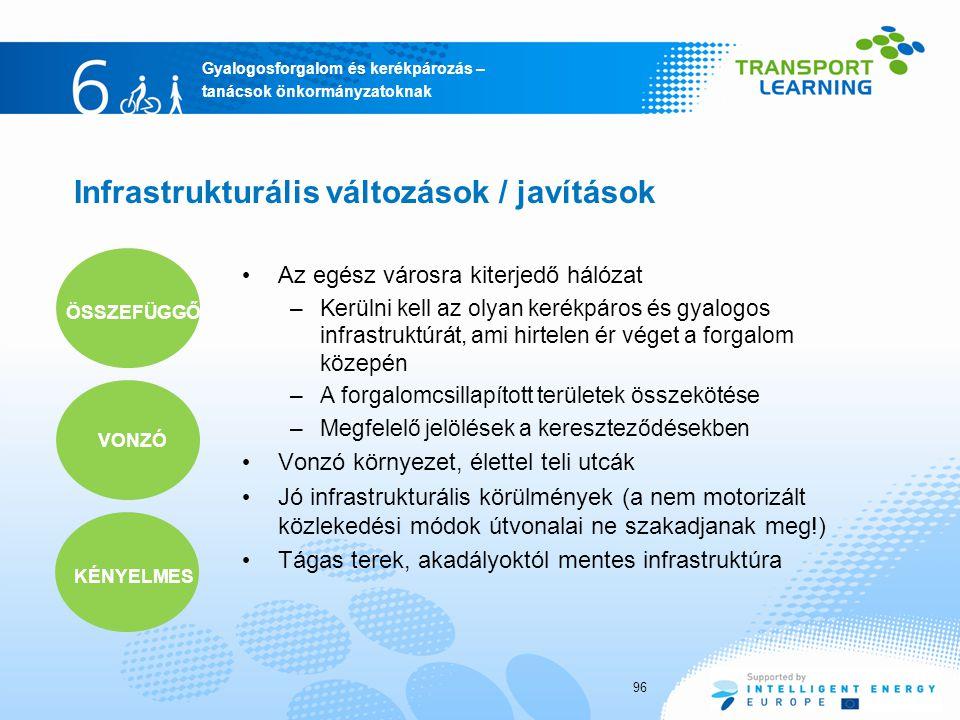 Gyalogosforgalom és kerékpározás – tanácsok önkormányzatoknak Infrastrukturális változások / javítások 96 Az egész városra kiterjedő hálózat –Kerülni