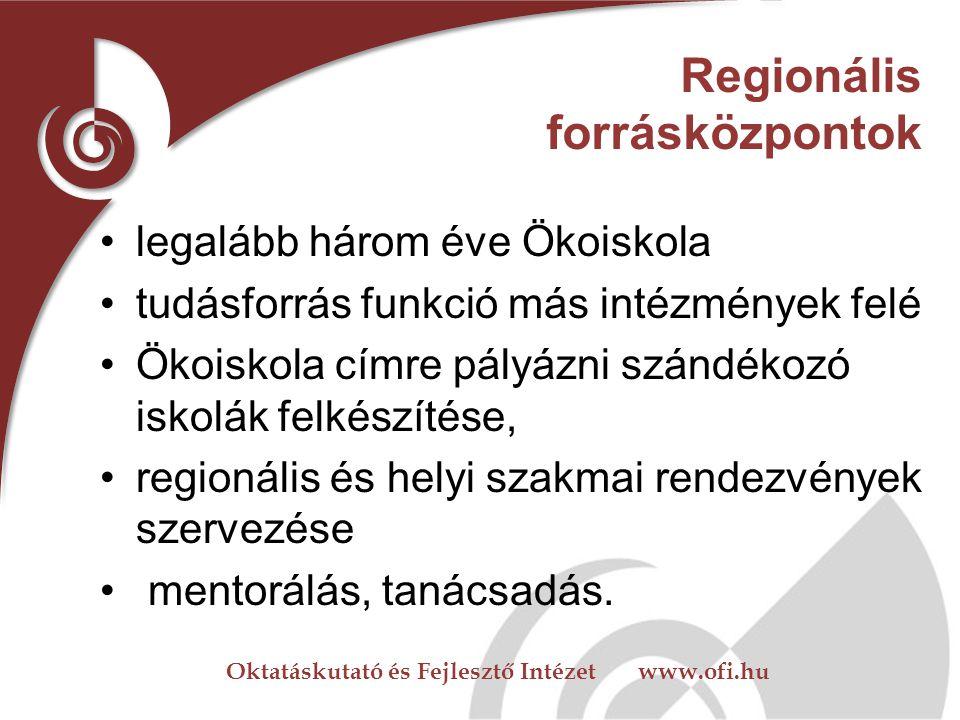Oktatáskutató és Fejlesztő Intézet www.ofi.hu Országos forrásközpontok Országos hatáskörű szakmai civil szervezet Aktív részvétel az Ökoiskola vagy a