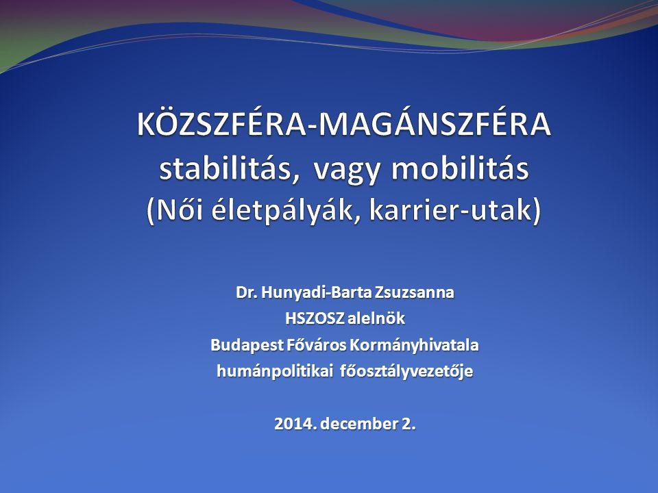 Dr. Hunyadi-Barta Zsuzsanna HSZOSZ alelnök Budapest Főváros Kormányhivatala humánpolitikai főosztályvezetője 2014. december 2.