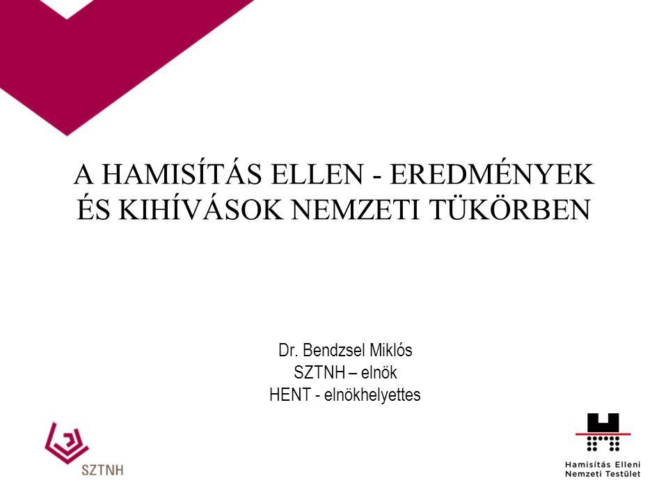 A HAMISÍTÁS ELLEN - EREDMÉNYEK ÉS KIHÍVÁSOK NEMZETI TÜKÖRBEN Dr. Bendzsel Miklós SZTNH – elnök HENT - elnökhelyettes