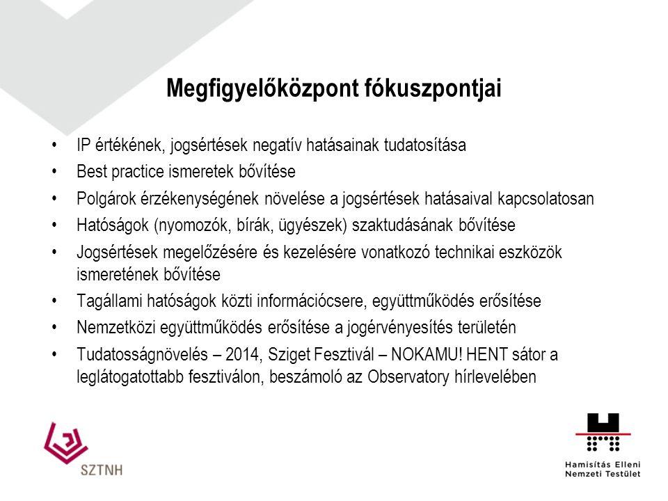 Megfigyelőközpont fókuszpontjai IP értékének, jogsértések negatív hatásainak tudatosítása Best practice ismeretek bővítése Polgárok érzékenységének növelése a jogsértések hatásaival kapcsolatosan Hatóságok (nyomozók, bírák, ügyészek) szaktudásának bővítése Jogsértések megelőzésére és kezelésére vonatkozó technikai eszközök ismeretének bővítése Tagállami hatóságok közti információcsere, együttműködés erősítése Nemzetközi együttműködés erősítése a jogérvényesítés területén Tudatosságnövelés – 2014, Sziget Fesztivál – NOKAMU.