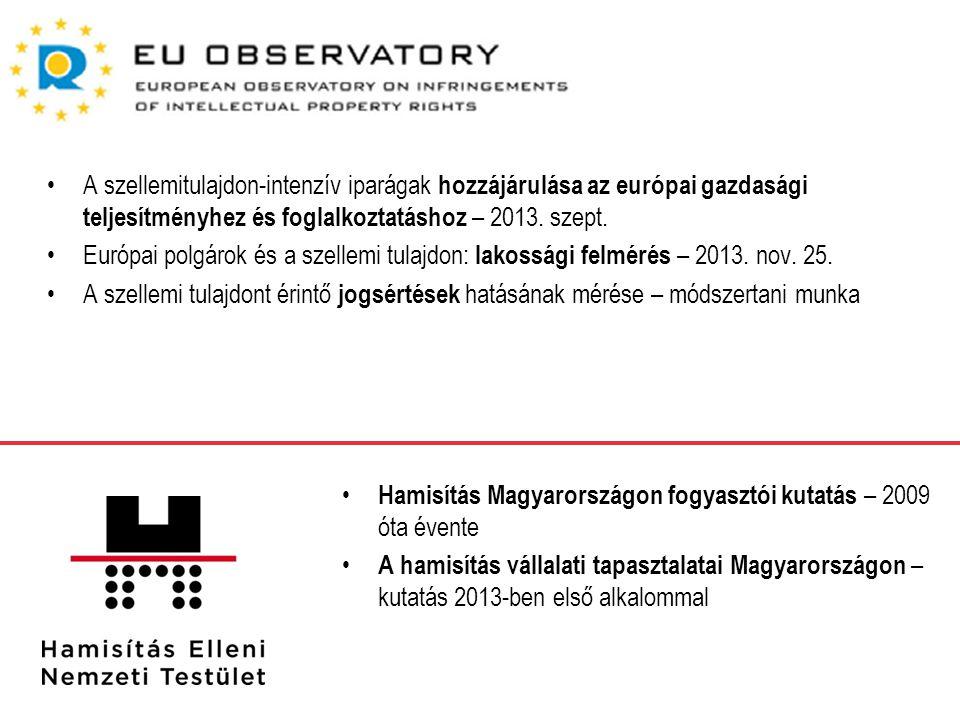 A szellemitulajdon-intenzív iparágak hozzájárulása az európai gazdasági teljesítményhez és foglalkoztatáshoz – 2013.