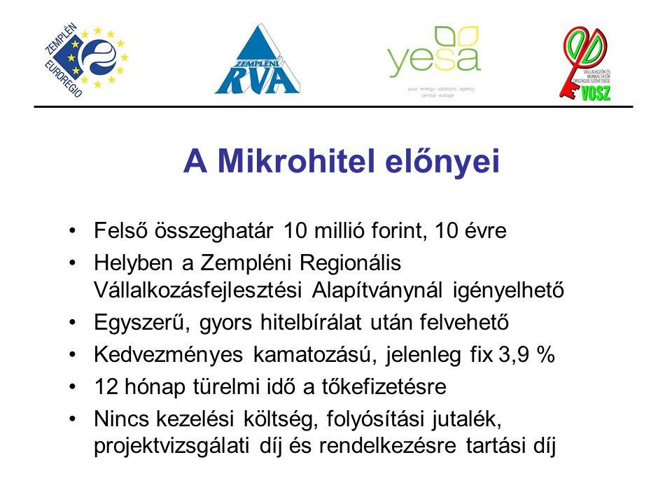 A Mikrohitel előnyei Felső összeghatár 10 millió forint, 10 évre Helyben a Zempléni Regionális Vállalkozásfejlesztési Alapítványnál igényelhető Egysze