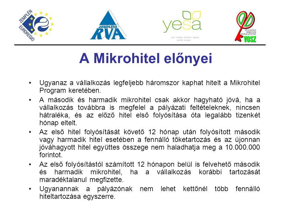 A Mikrohitel előnyei Ugyanaz a vállalkozás legfeljebb háromszor kaphat hitelt a Mikrohitel Program keretében. A második és harmadik mikrohitel csak ak