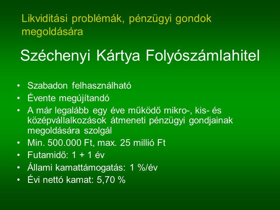 Széchenyi Kártya Folyószámlahitel Szabadon felhasználható Évente megújítandó A már legalább egy éve működő mikro-, kis- és középvállalkozások átmeneti