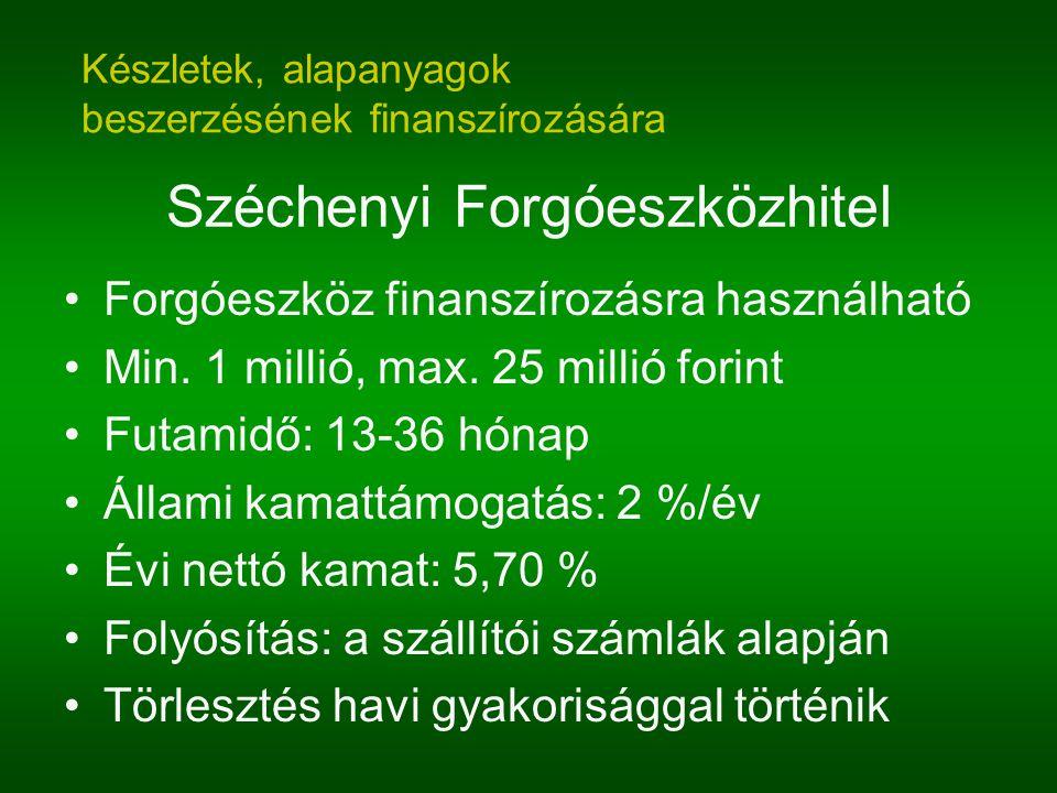Széchenyi Forgóeszközhitel Forgóeszköz finanszírozásra használható Min. 1 millió, max. 25 millió forint Futamidő: 13-36 hónap Állami kamattámogatás: 2