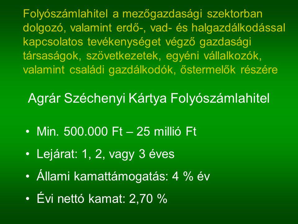 Agrár Széchenyi Kártya Folyószámlahitel Min. 500.000 Ft – 25 millió Ft Lejárat: 1, 2, vagy 3 éves Állami kamattámogatás: 4 % év Évi nettó kamat: 2,70