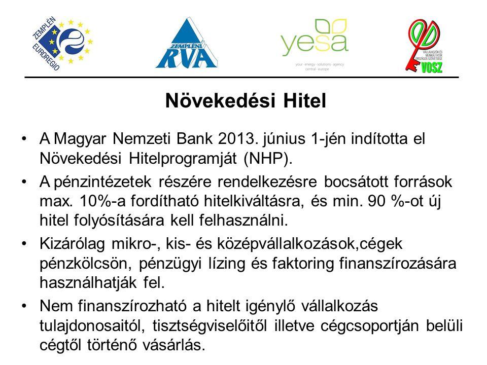 Növekedési Hitel A Magyar Nemzeti Bank 2013. június 1-jén indította el Növekedési Hitelprogramját (NHP). A pénzintézetek részére rendelkezésre bocsáto