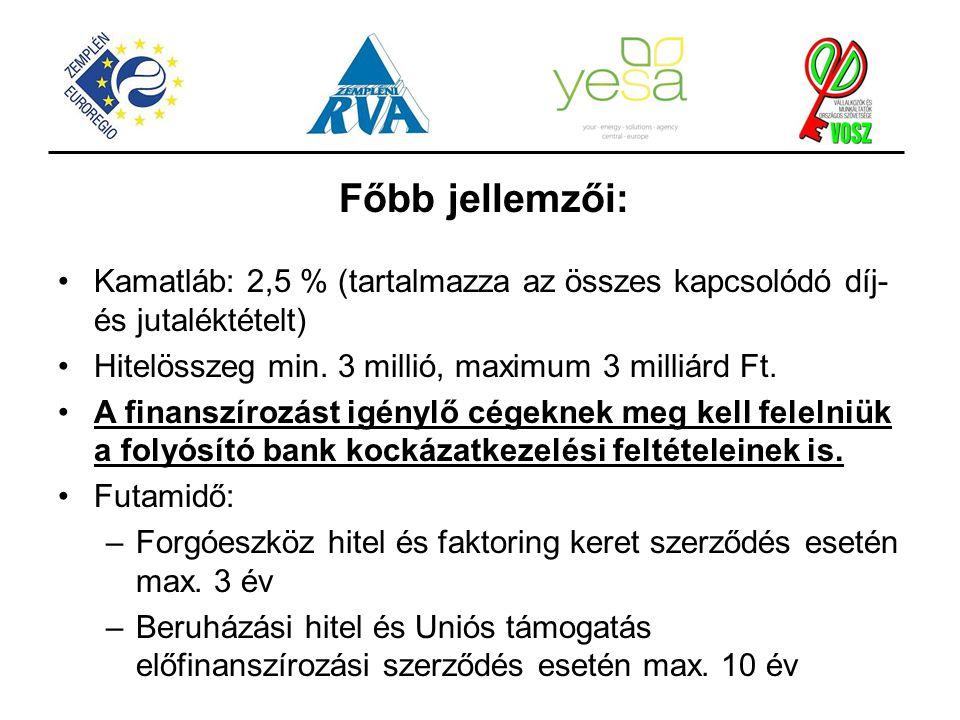 Főbb jellemzői: Kamatláb: 2,5 % (tartalmazza az összes kapcsolódó díj- és jutaléktételt) Hitelösszeg min. 3 millió, maximum 3 milliárd Ft. A finanszír