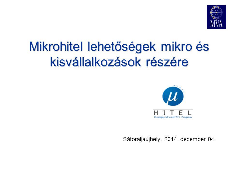 Mikrohitel lehetőségek mikro és kisvállalkozások részére Sátoraljaújhely, 2014. december 04.