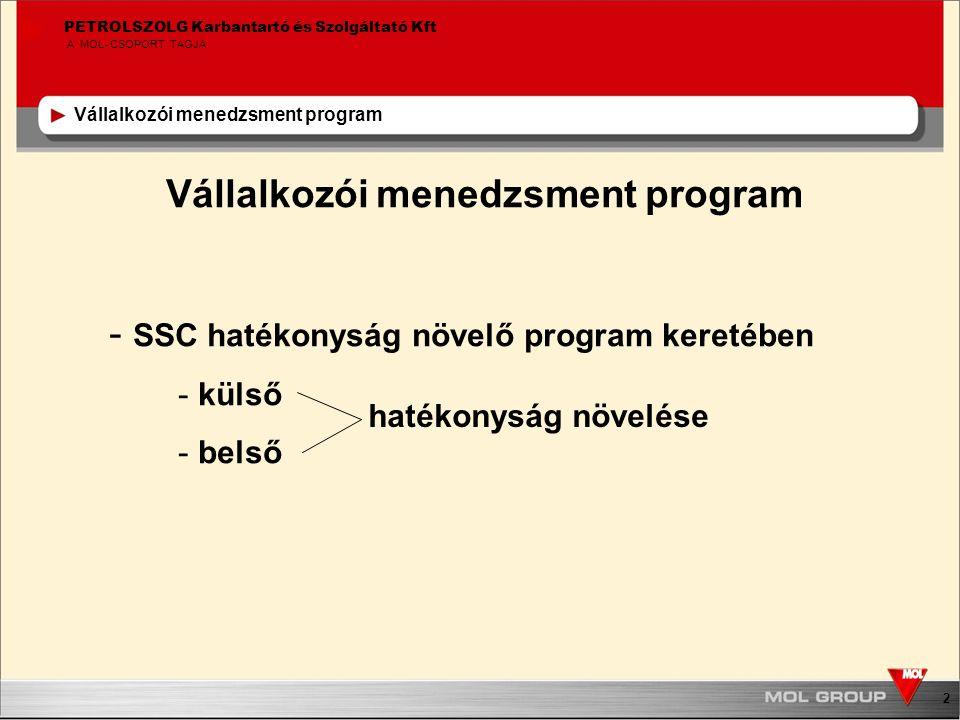 2 PETROLSZOLG Karbantartó és Szolgáltató Kft A MOL-CSOPORT TAGJA Vállalkozói menedzsment program - SSC hatékonyság növelő program keretében - külső - belső hatékonyság növelése