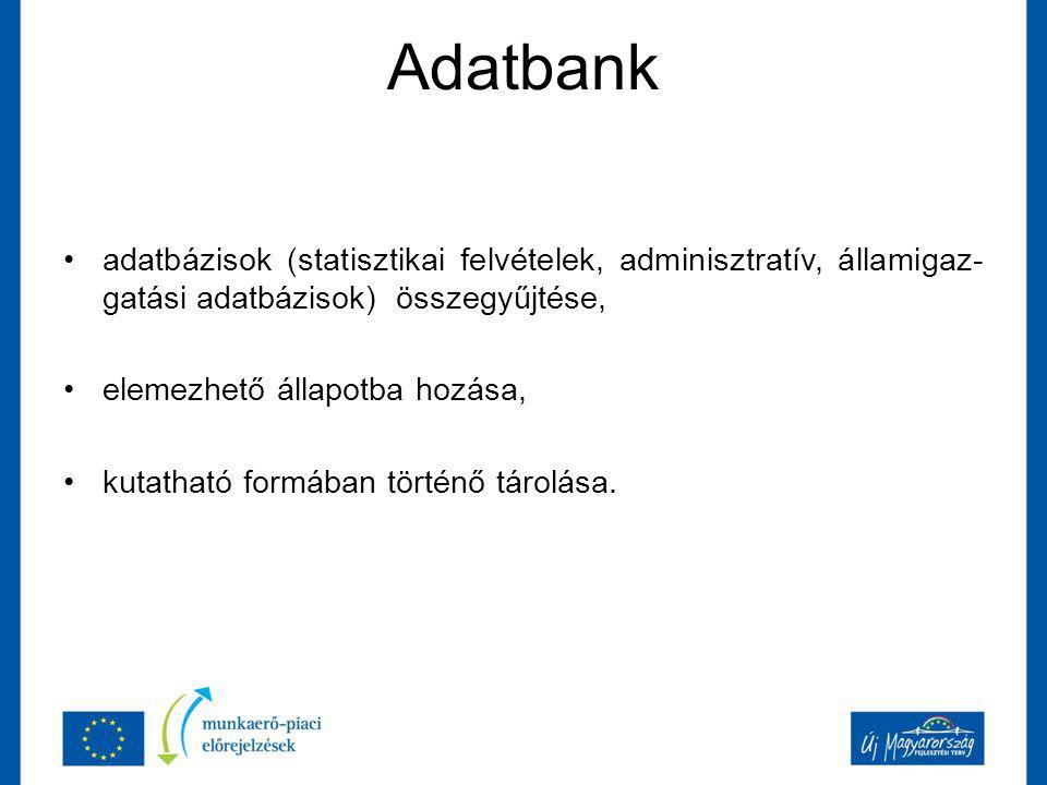 Adatbank adatbázisok (statisztikai felvételek, adminisztratív, államigaz- gatási adatbázisok) összegyűjtése, elemezhető állapotba hozása, kutatható formában történő tárolása.